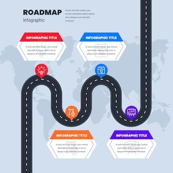 Platte infographic sjabloon voor stappenplan