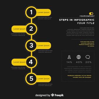 Platte infographic stappen achtergrond