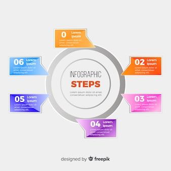 Platte infographic stappen sjabloon