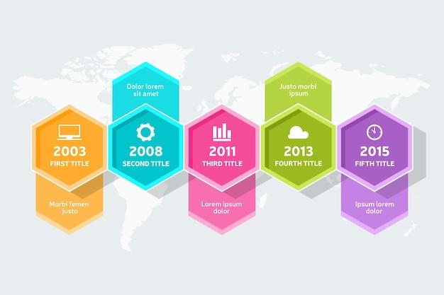 Platte infographic tijdlijn