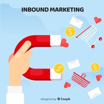 Platte inkomende marketing achtergrond