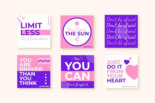 Platte inspirerende citaten instagram posts-collectie