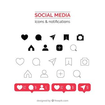 Platte instagram pictogrammen en meldingen instellen