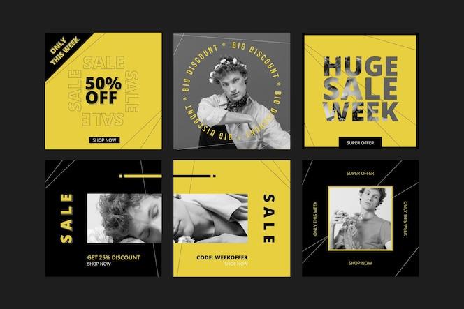 Platte instagram-verkoopberichtenverzameling met foto