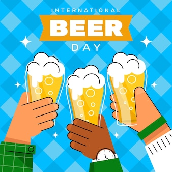 Platte internationale bierdag illustratie
