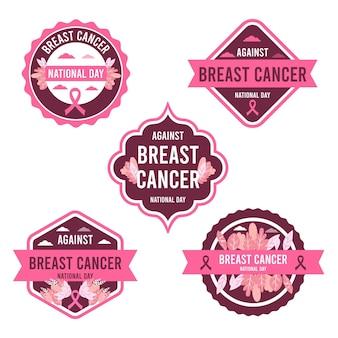 Platte internationale dag tegen borstkanker belettering etiketten collectie