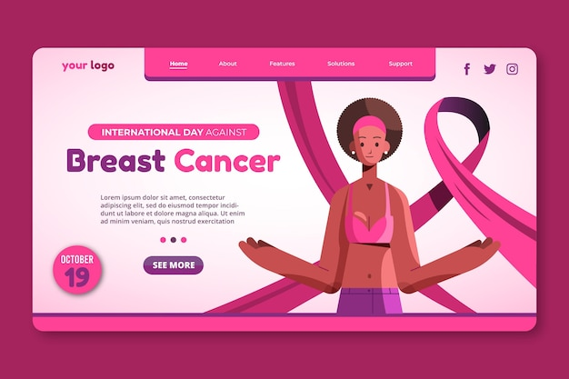 Platte internationale dag tegen borstkanker bestemmingspaginasjabloon