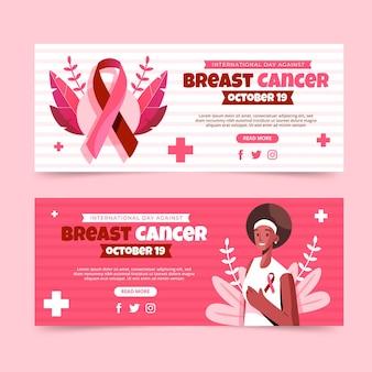 Platte internationale dag tegen borstkanker horizontale banners set Gratis Vector