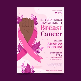 Platte internationale dag tegen borstkanker verticale flyer-sjabloon