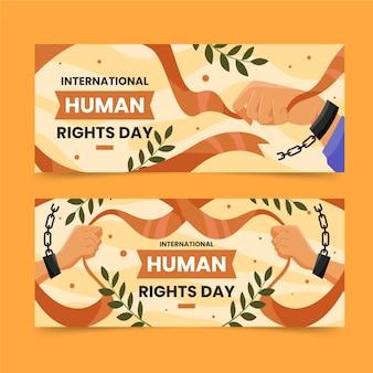 Platte internationale dag van de mensenrechten horizontale banners set met ketting geboeid handen