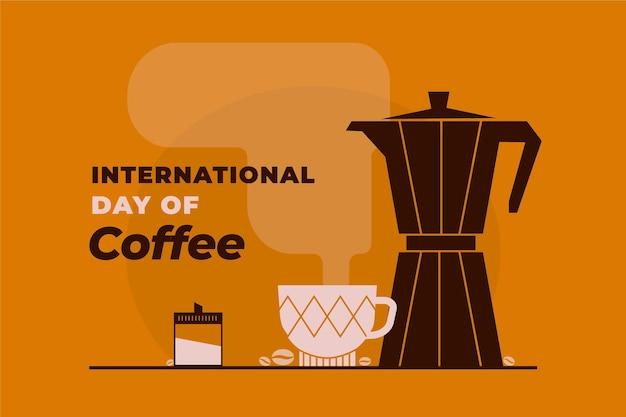 Platte internationale dag van koffie achtergrond