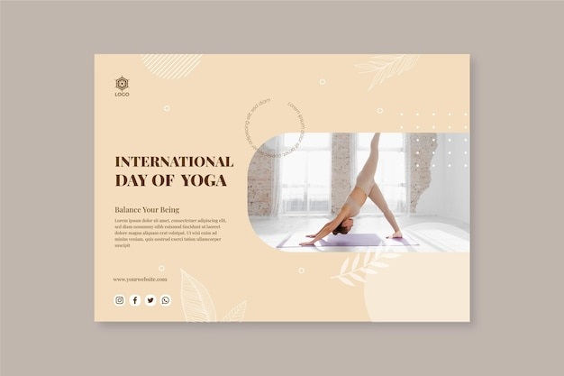 Platte internationale dag van yoga-banners instellen