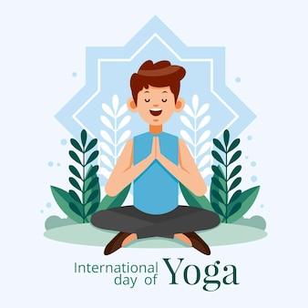 Platte internationale dag van yoga illustratie