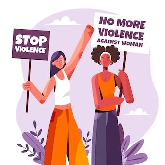 Platte internationale dag voor de uitbanning van geweld tegen vrouwen illustratie