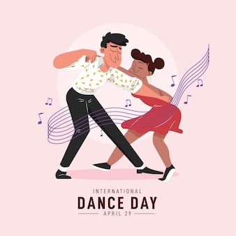 Platte internationale dansdag illustratie
