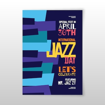 Platte internationale jazz dag flyer ontwerpsjabloon