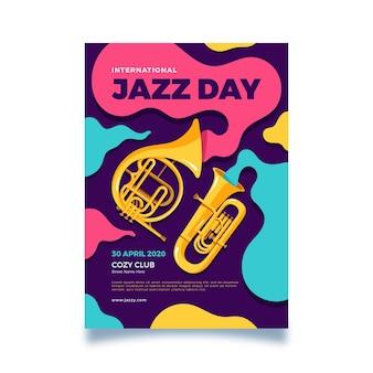 Platte internationale jazz dag flyer ontwerpsjabloon