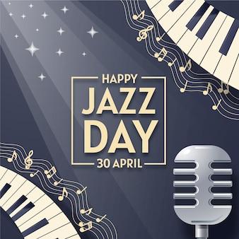 Platte internationale jazz dag ontwerpconcept