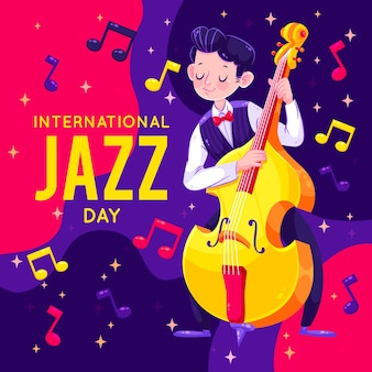 Platte internationale jazz dag ontwerpconcept