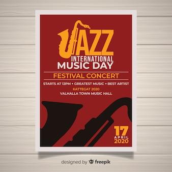 Platte internationale jazz dag poster sjabloon