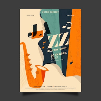 Platte internationale jazz dag sjabloon ontwerpconcept