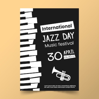Platte internationale jazz dag sjabloon ontwerpthema