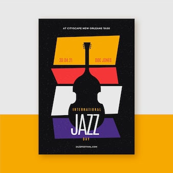 Platte internationale jazz dag verticale poster sjabloon