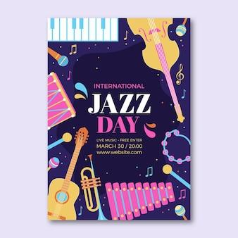 Platte internationale jazz dag verticale poster sjabloon