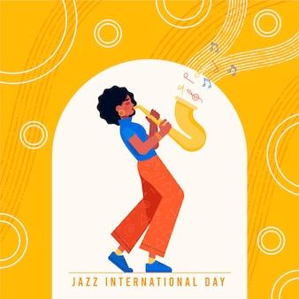 Platte internationale jazzdag illustratie