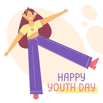 Platte internationale jeugddag illustratie
