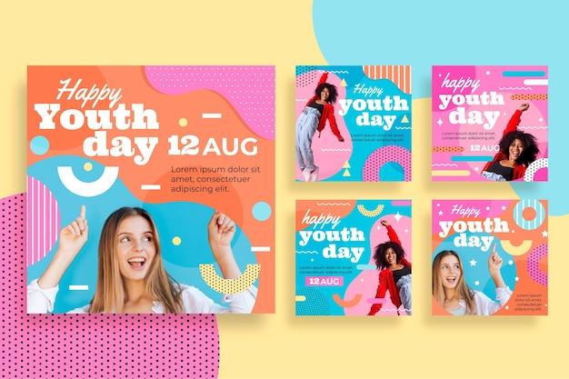 Platte internationale jeugddag postverzameling met foto