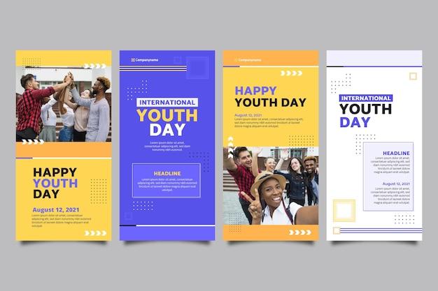 Platte internationale jeugddagverhalencollectie met foto
