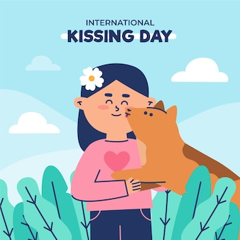 Platte internationale kussende dag illustratie