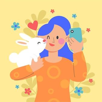 Platte internationale kussende dag illustratie Gratis Vector