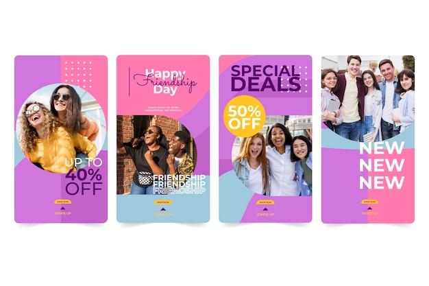 Platte internationale vriendschap dag instagram verhalencollectie Gratis Vector