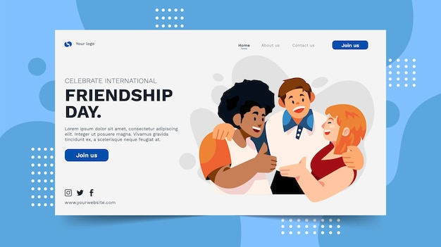 Platte internationale vriendschap dag sjabloon voor spandoek