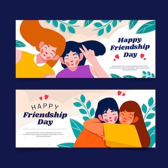 Platte internationale vriendschapsdag banners instellen