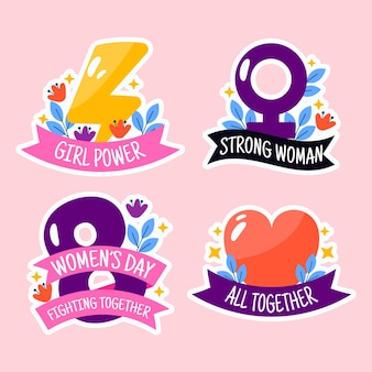 Platte internationale vrouwendag badge-collectie