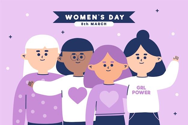 Platte internationale vrouwendag illustratie