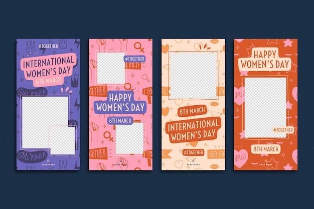 Platte internationale vrouwendag instagram-verhalencollectie