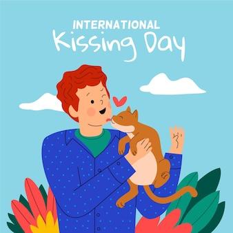 Platte internationale zoenen dag illustratie