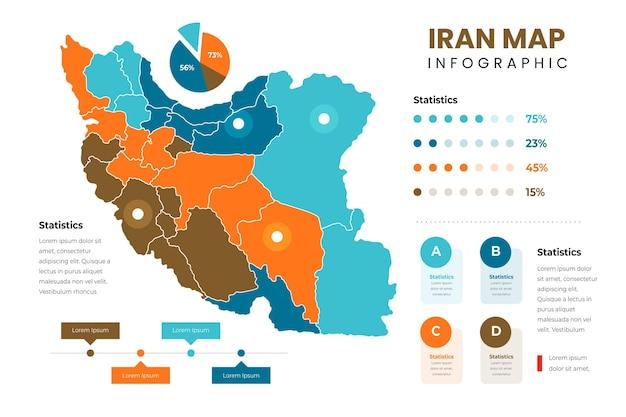 Platte iran kaart infographics sjabloon