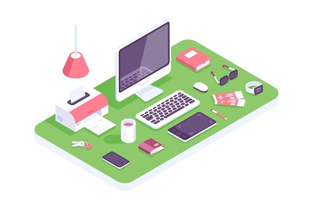 Platte isometrische 3d technologie werkruimte concept vector. laptop, smartphone, tablet, boek, desktopcomputer, koptelefoon, apparaten, printer, fauteuilset. werkplek thuis, ontwerpers, it, kantoor. huis