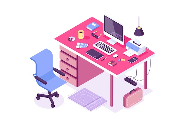 Platte isometrische 3d technologie werkruimte concept vector. laptop, smartphone, tablet, speler, desktop computer, koptelefoon, apparaten, printer, fauteuil, tas set. werkplek thuis, ontwerpers, it, kantoor