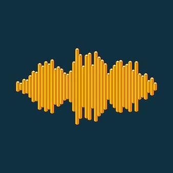 Platte isometrische muziek golf pictogram gemaakt van pieklijnen