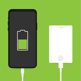 Platte isometrische smartphone usb-kabelverbinding met externe powerbank