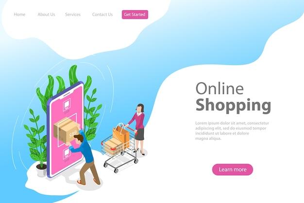 Platte isometrische vector bestemmingspagina sjabloon voor mobiel winkelen, e-commerce, online winkel, betaling.