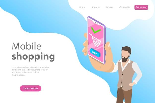 Platte isometrische vector bestemmingspagina sjabloon voor online winkelen, e-commerce, mobiele winkel, betaling.