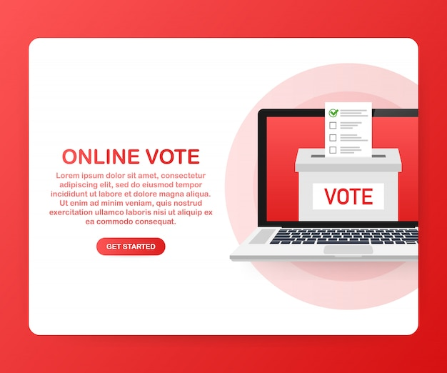 Platte isometrische vector concept stemmen online, e-voting, verkiezing internet systeem. .
