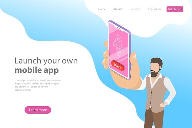 Platte isometrische vectorbestemmingspaginasjabloon voor lancering van mobiele apps, startup-idee, mobiele ontwikkeling.